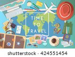 flat vector web banner on the... | Shutterstock .eps vector #424551454