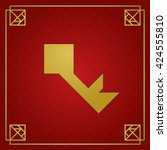 golden tangram key on dark red... | Shutterstock .eps vector #424555810