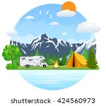 campsite place in mountain lake.... | Shutterstock .eps vector #424560973