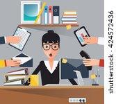 businesswoman at work. shocked... | Shutterstock .eps vector #424572436