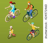 isometric people on bicycles.... | Shutterstock .eps vector #424572460