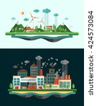 set of modern vector flat... | Shutterstock .eps vector #424573084