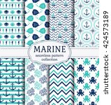 set of marine and nautical... | Shutterstock .eps vector #424573189
