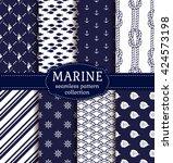 set of marine and nautical... | Shutterstock .eps vector #424573198