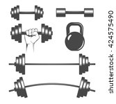 dumbbells set | Shutterstock .eps vector #424575490