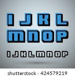 pixel font alphabet  old video...   Shutterstock .eps vector #424579219