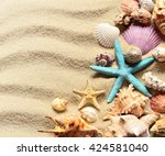 seashells on a summer sandy... | Shutterstock . vector #424581040