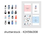 collection of cute pineapples... | Shutterstock .eps vector #424586308
