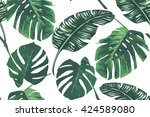 tropical palm leaves  jungle... | Shutterstock .eps vector #424589080