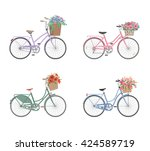 Set Of Retro Bicycles With...