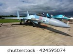 Small photo of MOSCOW REGION, RUSSIA - MAY 21, 2016: Russian Air Force Su-35 Flanker fighter aircraft on display at Kubinka airbase panoramic view