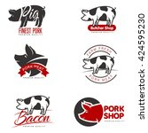 set of logos with a pig  vector ... | Shutterstock .eps vector #424595230