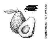 vector hand drawn avocado and... | Shutterstock .eps vector #424596520