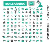 learning icons  | Shutterstock .eps vector #424597954