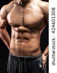 close up of a power fitness man ... | Shutterstock . vector #424601308