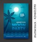 moon beach party poster design. ... | Shutterstock .eps vector #424601590