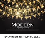 gold party flags with confetti. ... | Shutterstock .eps vector #424601668