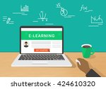 e learning flat illustration of ... | Shutterstock .eps vector #424610320
