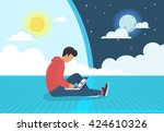young man sitting on the floor... | Shutterstock .eps vector #424610326
