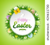 happy easter poster  | Shutterstock . vector #424611730