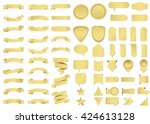 Banner vector icon set gold color on white background. Ribbon isolated shapes illustration of gift and accessory. Christmas sticker and decoration for app and web. Label, badge and borders collection. | Shutterstock vector #424613128