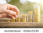 save money with stack money... | Shutterstock . vector #424615150