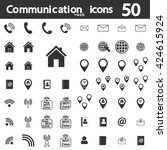 set communication icons  50 web ... | Shutterstock .eps vector #424615924