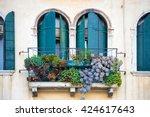 flowers in a box on the window. ... | Shutterstock . vector #424617643