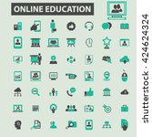 online education icons  | Shutterstock .eps vector #424624324