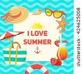 sea shore and swimming... | Shutterstock .eps vector #424625008
