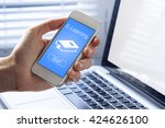 e learning concept on mobile... | Shutterstock . vector #424626100
