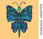 colored blue butterfly in...   Shutterstock .eps vector #424627078