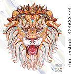 patterned head of the roaring...   Shutterstock .eps vector #424633774