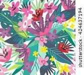 bright vector seamless pattern... | Shutterstock .eps vector #424637194