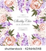 vintage card with lilac and... | Shutterstock .eps vector #424646548