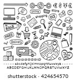 hand drawn sketch icons set... | Shutterstock .eps vector #424654570