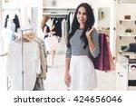 expert in shopping. beautiful... | Shutterstock . vector #424656046