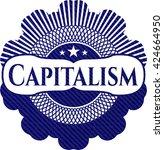 capitalism badge with denim... | Shutterstock .eps vector #424664950