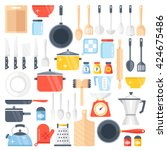 vector kitchen tools set.... | Shutterstock .eps vector #424675486