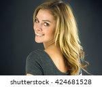 attractive woman on plein...   Shutterstock . vector #424681528