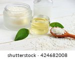 coconut oil jar  coconut... | Shutterstock . vector #424682008