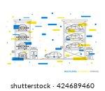 multilevel parking  terminal ... | Shutterstock .eps vector #424689460