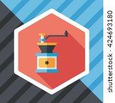 grinding coffee machine flat...   Shutterstock .eps vector #424693180