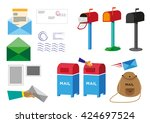 set of postal service objects... | Shutterstock .eps vector #424697524