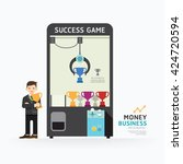 infographic business claw game... | Shutterstock .eps vector #424720594