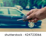hand holding and touching the...   Shutterstock . vector #424723066