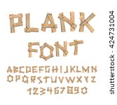 plank font. wooden table... | Shutterstock .eps vector #424731004