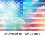 american flag with night sky... | Shutterstock . vector #424734898