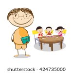 mid age teacher man in a class... | Shutterstock .eps vector #424735000