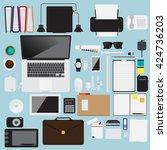 flat design modern workplace... | Shutterstock .eps vector #424736203